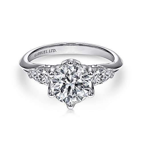 Gabriel - Rosario 18k White Gold Round 3 Stones Engagement Ring