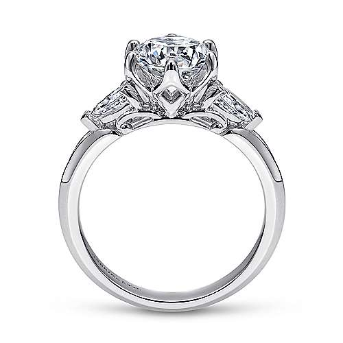 Rosario 18k White Gold Round 3 Stones Engagement Ring angle 2