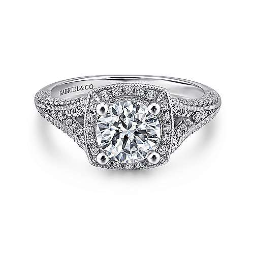 Gabriel - Rose 14k White Gold Round Halo Engagement Ring