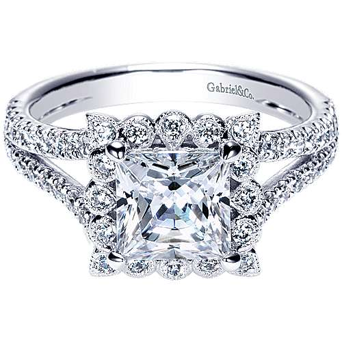 Gabriel - Rosemarie 14k White Gold Princess Cut Halo Engagement Ring