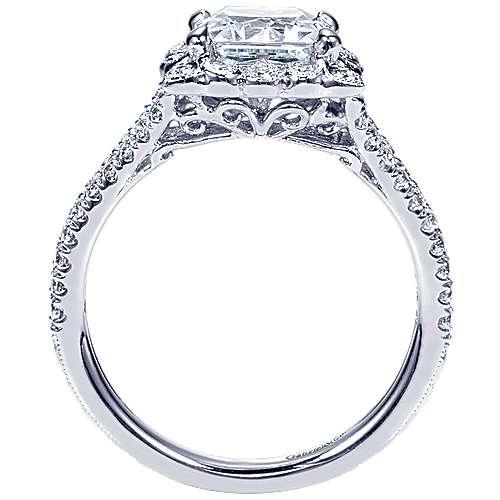 Rosemarie 14k White Gold Princess Cut Halo Engagement Ring angle 2
