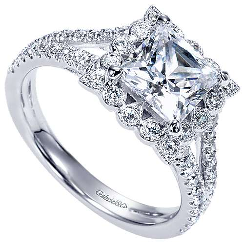 Rosemarie 14k White Gold Princess Cut Halo Engagement Ring angle 3