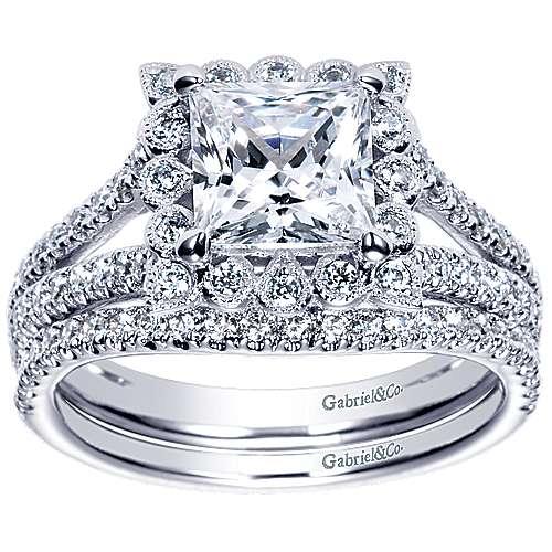 Rosemarie 14k White Gold Princess Cut Halo Engagement Ring angle 4