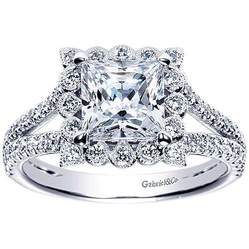 Rosemarie 14k White Gold Princess Cut Halo Engagement Ring angle 5