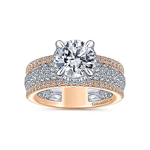 Rosie 18k White And Rose Gold Round Straight Engagement Ring angle 5
