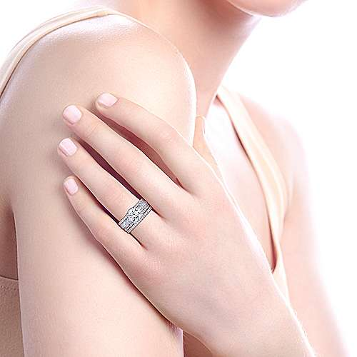 Rosie 18k White And Rose Gold Round Straight Engagement Ring angle 7