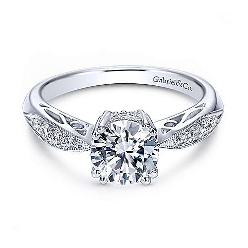 Gabriel - Roslyn 14k White Gold Round Straight Engagement Ring