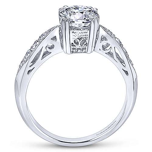 Roslyn 14k White Gold Round Straight Engagement Ring angle 2
