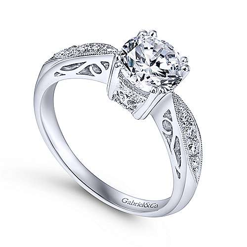 Roslyn 14k White Gold Round Straight Engagement Ring angle 3
