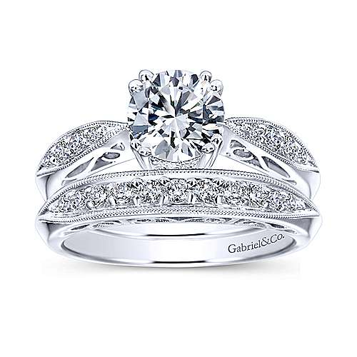 Roslyn 14k White Gold Round Straight Engagement Ring angle 4
