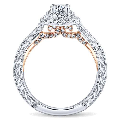Rosy 14k White And Rose Gold Round Double Halo Engagement Ring