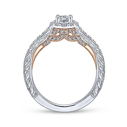Rosy 14k White And Rose Gold Round Halo Engagement Ring