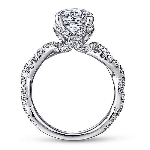 Roulette 18k White Gold Round Twisted Engagement Ring angle 2