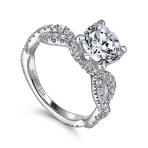 Roulette 18k White Gold Round Twisted Engagement Ring angle 3