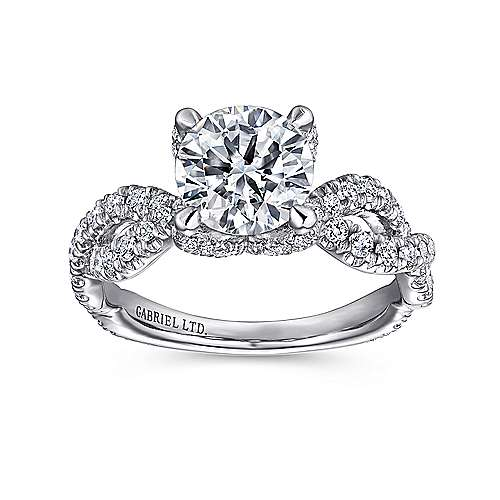 Roulette 18k White Gold Round Twisted Engagement Ring angle 5