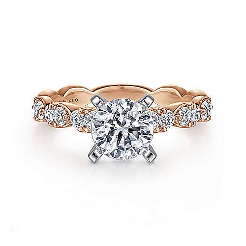 Gabriel - Rowan 14k White And Rose Gold Round Straight Engagement Ring