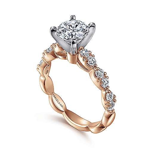 Rowan 14k White And Rose Gold Round Straight Engagement Ring angle 3
