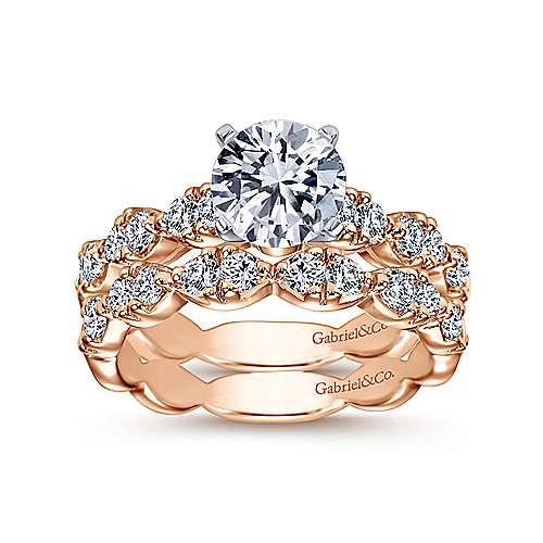 Rowan 14k White And Rose Gold Round Straight Engagement Ring angle 4