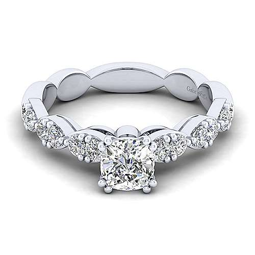 Gabriel - Rowan 14k White Gold Cushion Cut Straight Engagement Ring