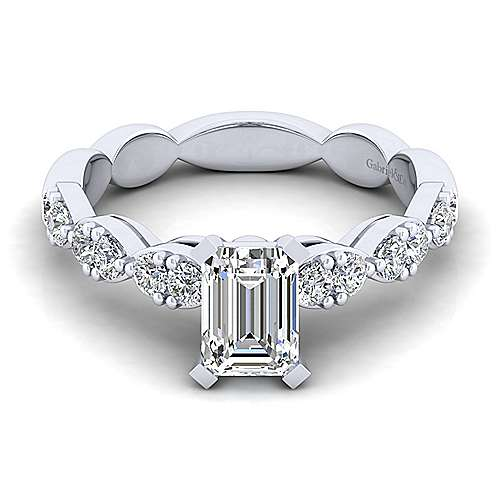 Gabriel - Rowan 14k White Gold Emerald Cut Straight Engagement Ring