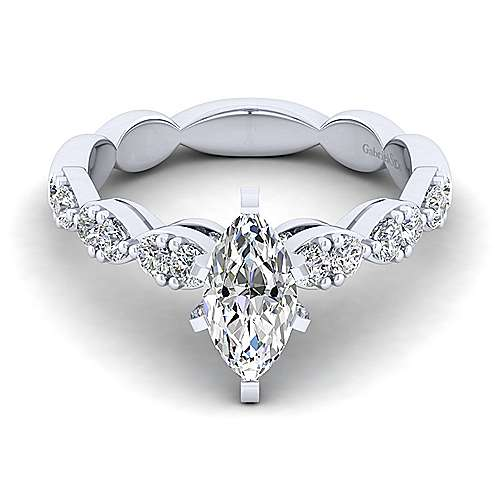Gabriel - Rowan 14k White Gold Marquise  Straight Engagement Ring