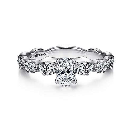 Gabriel - Rowan 14k White Gold Oval Straight Engagement Ring