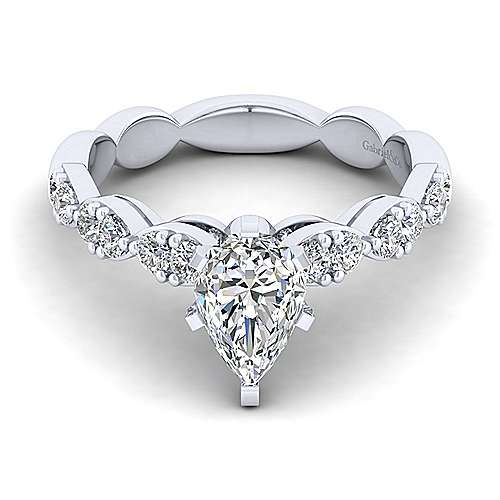 Gabriel - Rowan 14k White Gold Pear Shape Straight Engagement Ring