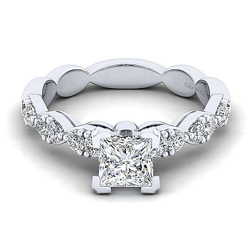 Gabriel - Rowan 14k White Gold Princess Cut Straight Engagement Ring
