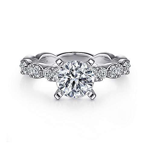 Gabriel - Rowan 14k White Gold Round Straight Engagement Ring