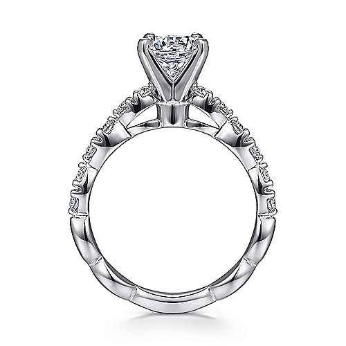 Rowan 14k White Gold Round Straight Engagement Ring angle 2