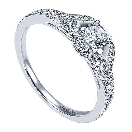 Roxy 14k White Gold Round Halo Engagement Ring angle 3