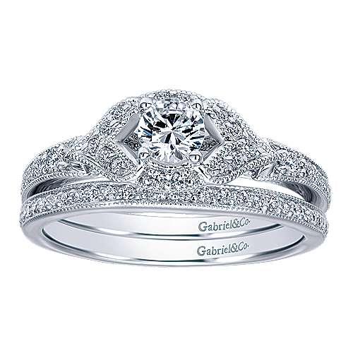 Roxy 14k White Gold Round Halo Engagement Ring angle 4