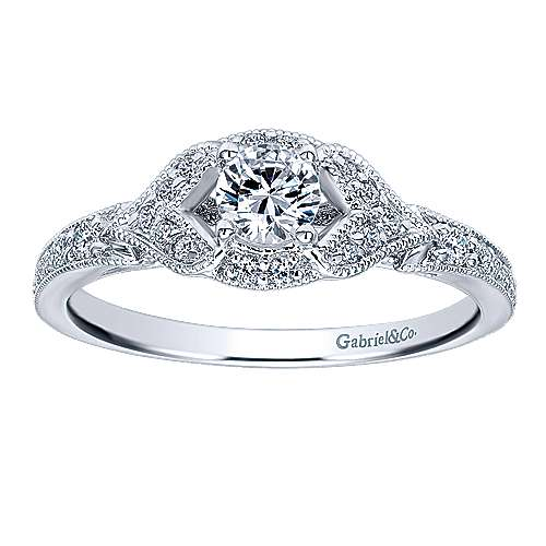 Roxy 14k White Gold Round Halo Engagement Ring