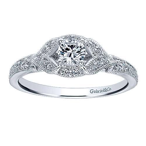 Roxy 14k White Gold Round Halo Engagement Ring angle 5