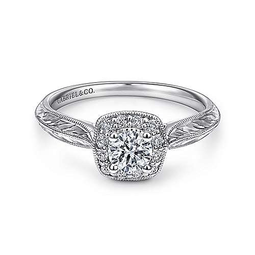 Gabriel - Royal 14k White Gold Round Halo Engagement Ring