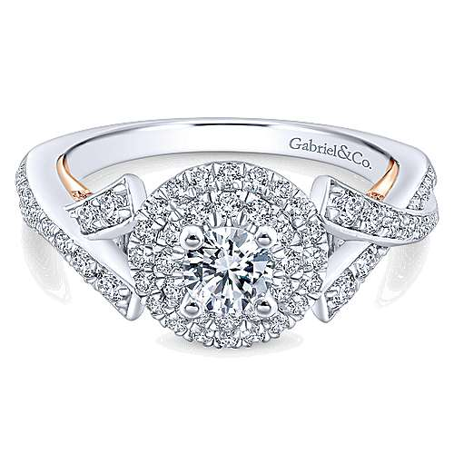 Gabriel - Rudy 14k White And Rose Gold Round Double Halo Engagement Ring