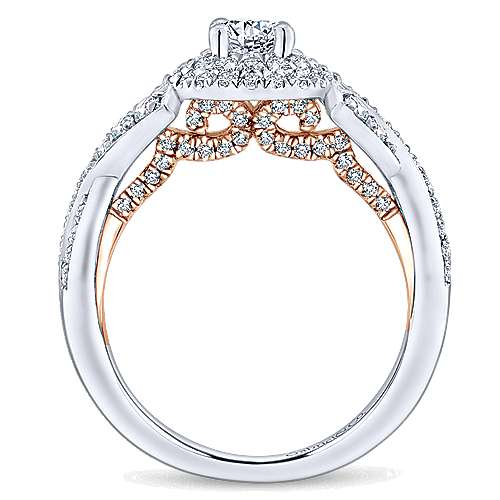 Rudy 14k White And Rose Gold Round Double Halo Engagement Ring angle 2