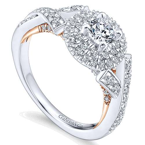 Rudy 14k White And Rose Gold Round Double Halo Engagement Ring angle 3