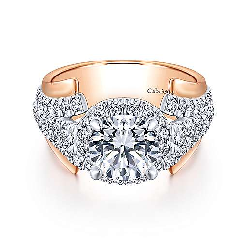 Gabriel - Ruth 18k White And Rose Gold Round Halo Engagement Ring