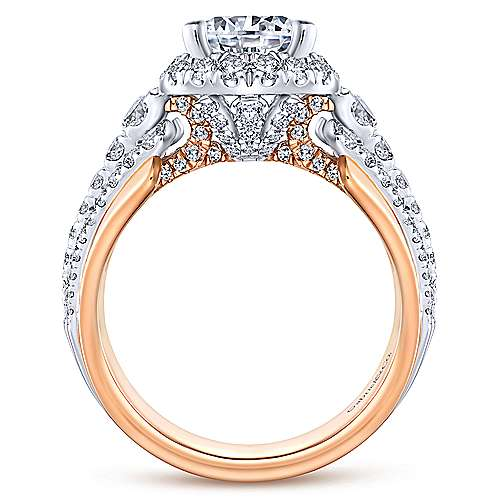 Ruth 18k White And Rose Gold Round Halo Engagement Ring angle 2