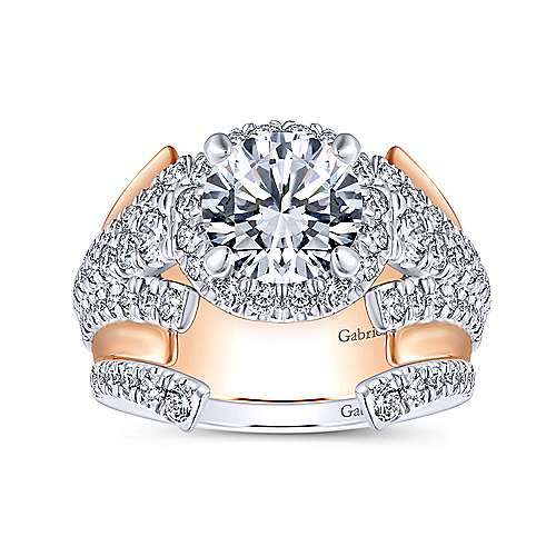 Ruth 18k White And Rose Gold Round Halo Engagement Ring angle 4