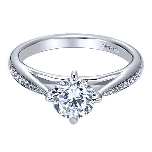 Gabriel - Ryder 18k White Gold Round Straight Engagement Ring