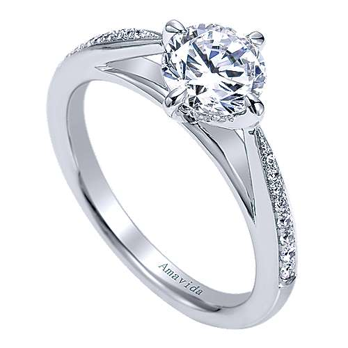 Ryder 18k White Gold Round Straight Engagement Ring