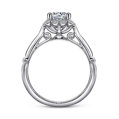 Sable 18k White Gold Round Halo Engagement Ring angle 2