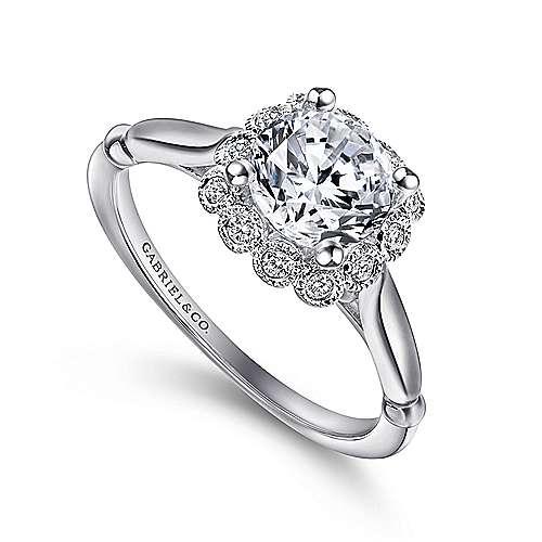 Sable 18k White Gold Round Halo Engagement Ring angle 3