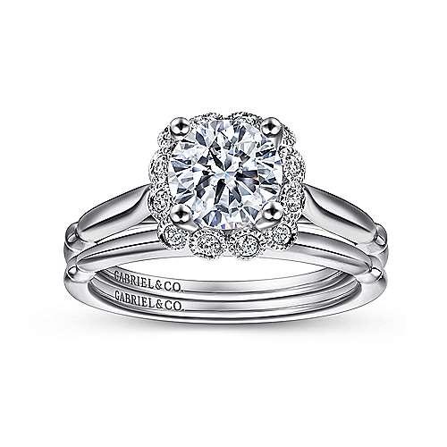 Sable 18k White Gold Round Halo Engagement Ring angle 4