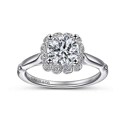 Sable 18k White Gold Round Halo Engagement Ring angle 5