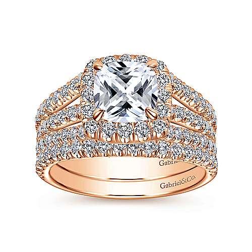 Sabrina 14k Pink Gold Cushion Cut Halo Engagement Ring angle 4