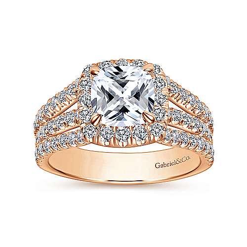 Sabrina 14k Pink Gold Cushion Cut Halo Engagement Ring angle 5
