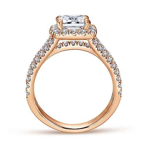 Sabrina 14k Rose Gold Cushion Cut Halo Engagement Ring angle 2